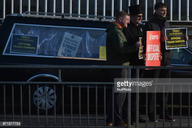 Striking rail workers members of NBRU TEEU and SIPTU on strike in front of Dublin Connolly railway station Commuters are facing another day of travel...