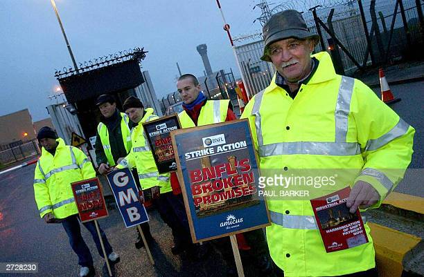 Striking workers picket the main gate at Sellafield Nuclear Power Station in a dispute over pay 14 November 2003 Workers at British nuclear...