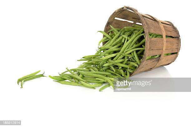 String Beans in a Tipped Rustic Basket