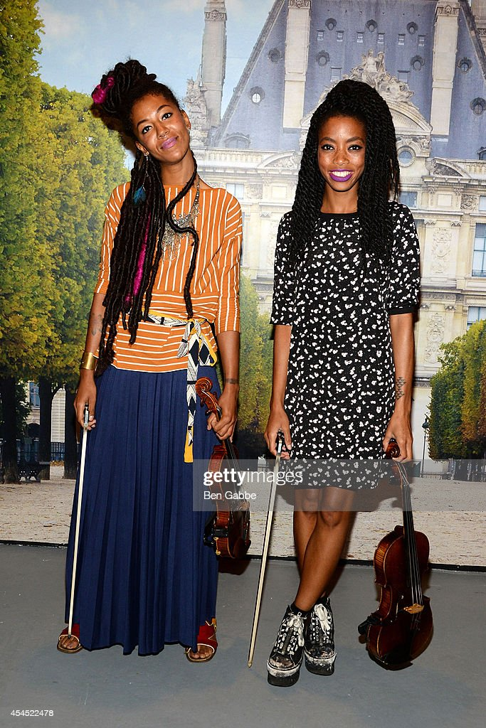 String duo Chargaux attend the Maison Jules Presentation during Mercedes-Benz Fashion Week Spring 2015 at Art Beam on September 2, 2014 in New York City.