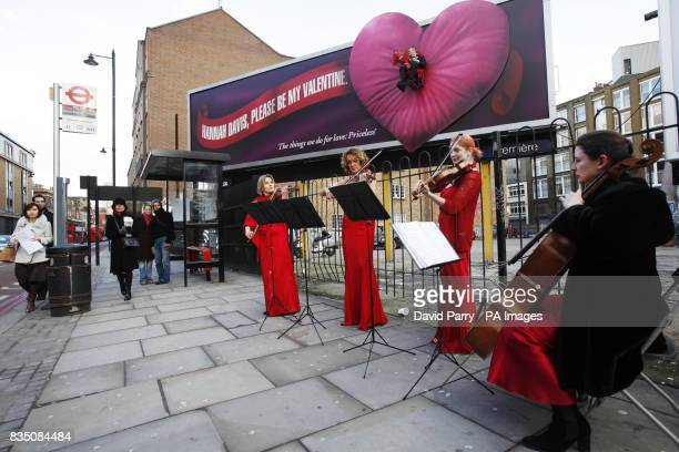 A String Quartet set the mood for Johnny Skinner from Shoreditch who has made himself part of a Mastercard billboard on Old Street London to declare...