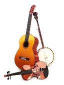 Stringed music instruments Guitar, banjo, violin on a white background.
