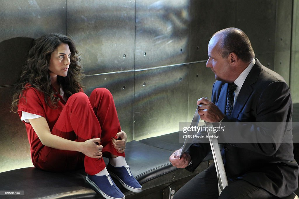'Strip Maul' --Captain Jim Brass (Paul Guilfoyle, right) speaks to Chasity/Heather Tile (Inbar Lavi) about what she may or may not know to help the case, on