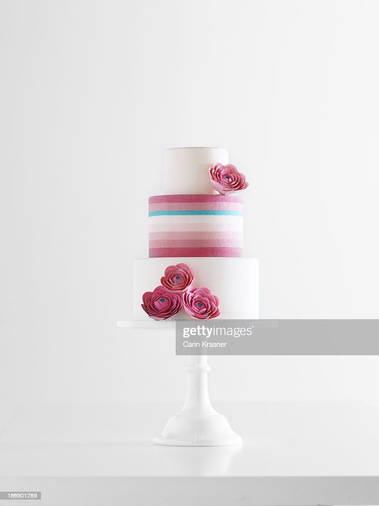 Striped Bridal Cake with Flowers