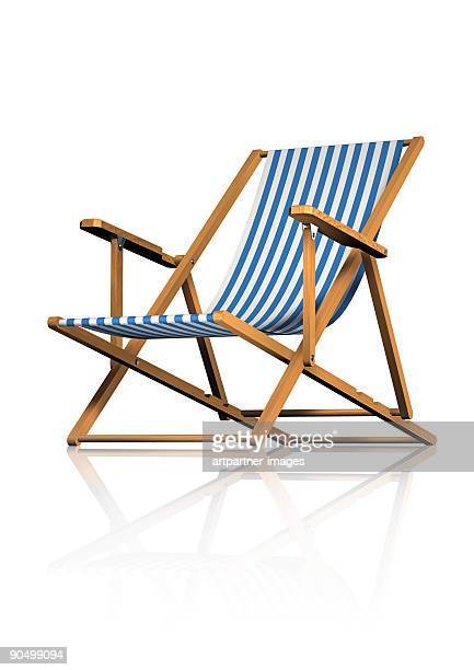 Striped Deck Chair on White Background