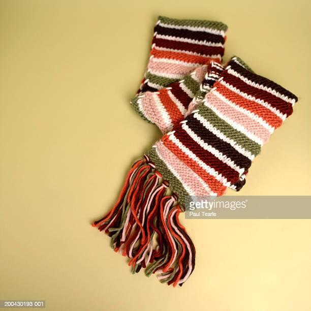 Stripey scarf with tassels