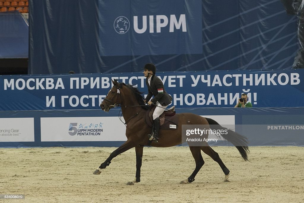 Strobl Krisztian (Hungary) during the men's relay World Championship in modern pentathlon in Moscow in Olympic Sports Complex in Moscow, Russia, on May 24, 2016.