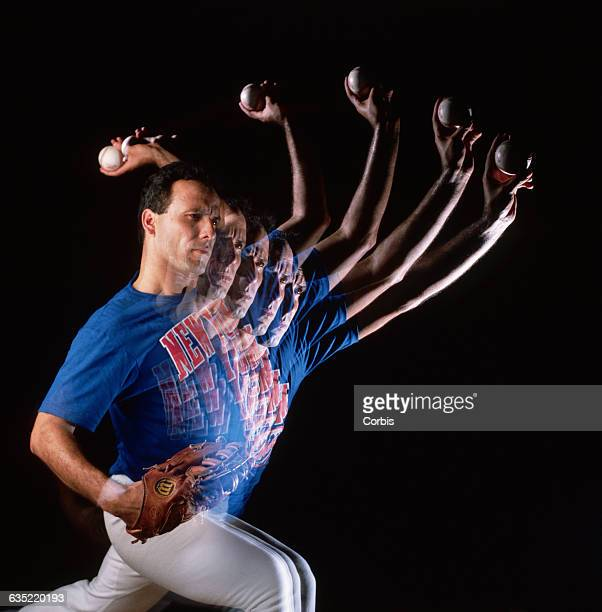 A stroboscopic view shows New York Mets pitcher Bob Ojeda pitching a baseball Ojeda nearly severed part of his middle finger with a hedge clipper...