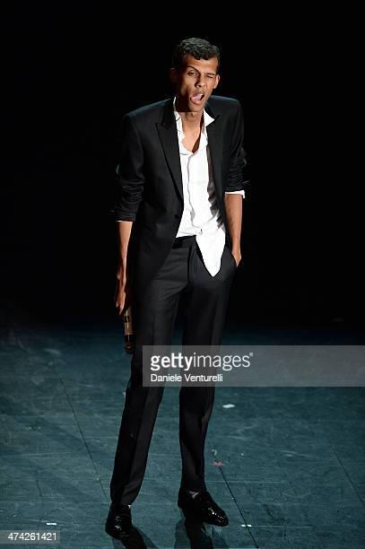 Stromae attends closing night of the 64th Festival di Sanremo 2014 at Teatro Ariston on February 22 2014 in Sanremo Italy