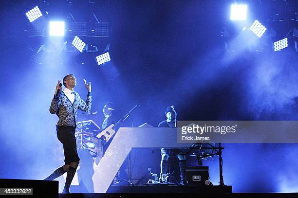 Stromae performs live during the Music Festival des Vieilles Charrues on July 18 2014 in Carhaix France