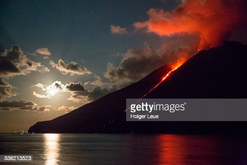 Stromboli volcano with lava flow at night