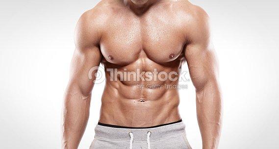 Starken Sportlichen Mann Zeigen Muskeln Körper Stock-Foto | Thinkstock