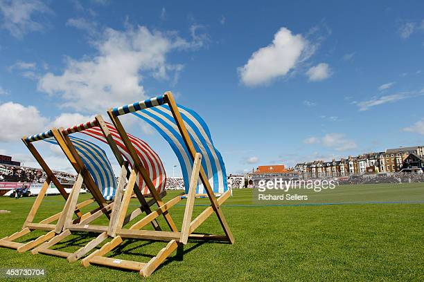 Strong Breeze blows deck chairs during day three of the LV County Championship division One match between Yorkshire and Sussex on August 17 2014 in...