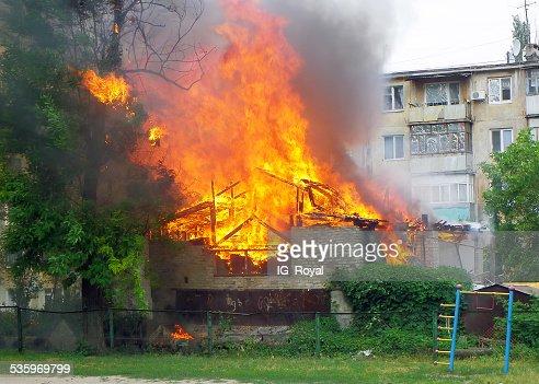 Strong fire in Ukraine. burns garage : Stock Photo