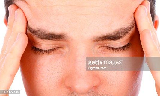 Forte dor de cabeça : Foto de stock