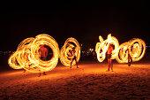 Strong Men Juggling Fire in Thailand - Fire Dancers
