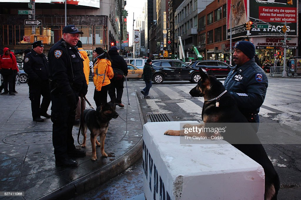 A strong police presence during super bowl week activities for Activities in times square