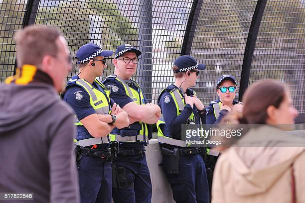 A strong Police presence is seen during the round one AFL match between the Geelong Cats and the Hawthorn Hawks at Melbourne Cricket Ground on March...
