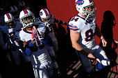 Strong safety Bacarri Rambo of the Buffalo Bills has a moment to himself as he and teammates take the field before playing the Washington Redskins at...