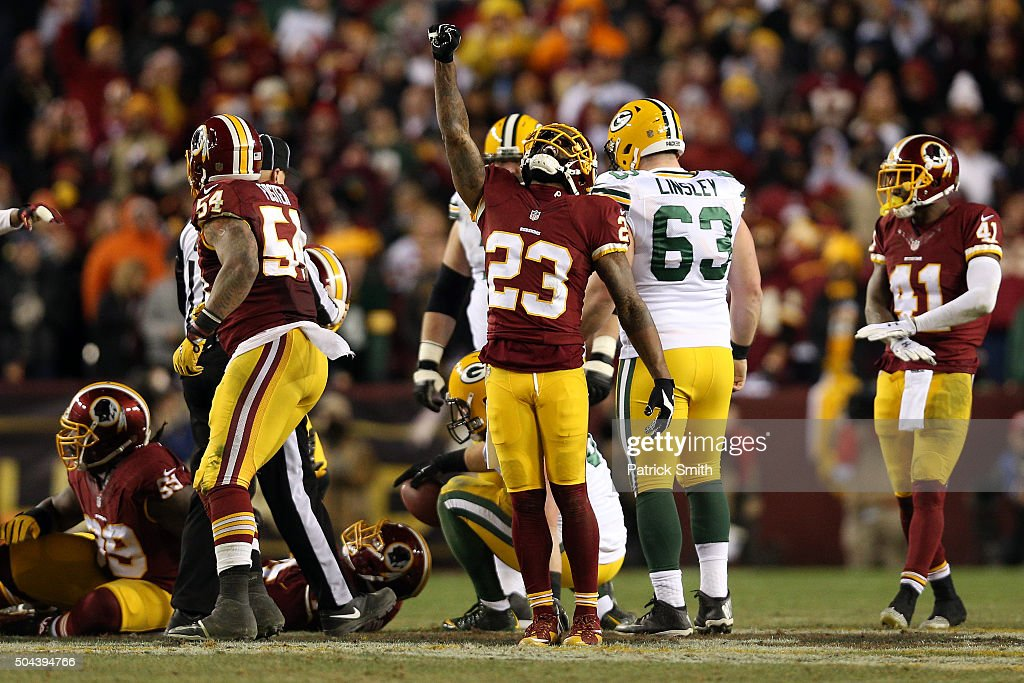 Strong safety DeAngelo Hall of the Washington Redskins reacts to a play against the Green Bay Packers in the third quarter during the NFC Wild Card...
