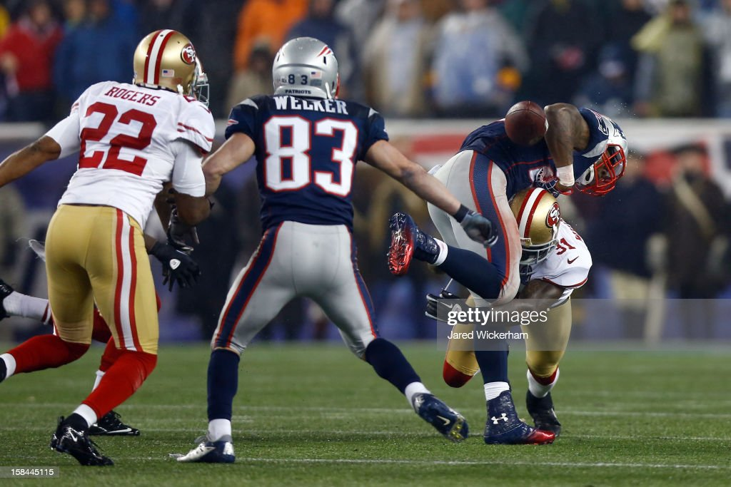Strong safety Donte Whitner #31 of the San Francisco 49ers forces a fumble on running back <a gi-track='captionPersonalityLinkClicked' href=/galleries/search?phrase=Stevan+Ridley&family=editorial&specificpeople=4674104 ng-click='$event.stopPropagation()'>Stevan Ridley</a> #22 of the New England Patriots in the third quarter at Gillette Stadium on December 16, 2012 in Foxboro, Massachusetts.