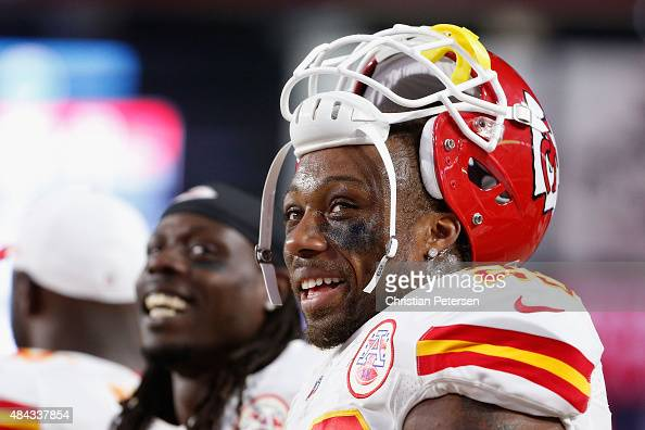 Strong safety Eric Berry of the Kansas City Chiefs stands on the sidelines during the preseason NFL game against the Arizona Cardinals at the...