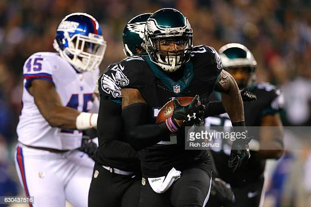Strong safety Malcolm Jenkins of the Philadelphia Eagles intercepts a ball intended for tight end Will Tye of the New York Giants thrown by...