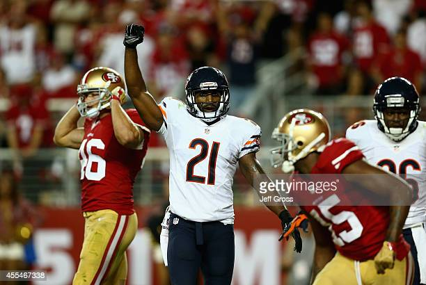 Strong safety Ryan Mundy of the Chicago Bears celebrates in the closing minutes of the fourth quarter against the San Francisco 49ers at Levi's...