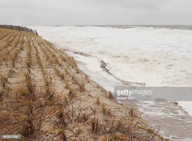 Bethany Beach Delaware October 2 2015 Strong storm causing damage along the Atlantic coast Beach is gone with waves eroding the dune protecting the...