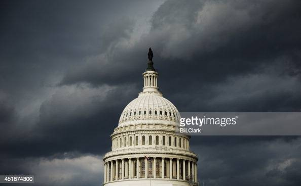 A strong storm front passes over the US Capitol on Tuesday July 8 2014