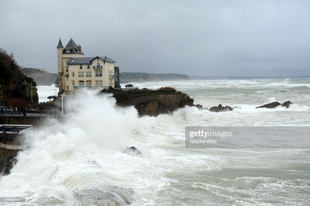 Strong waves clash against rocks in Biarritz, southwesten France, during high tides of the Atlantic Ocean in February 1, 2014. French departments on the Atlantic coast were on alert for strong waves and risk of submersion on January 31, and the western department of Finistere was on high alert for flooding.