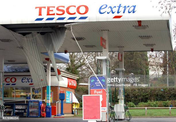 Strong winds damaged the Tesco fuel station and closed it to customers at the Tadcaster Road store York
