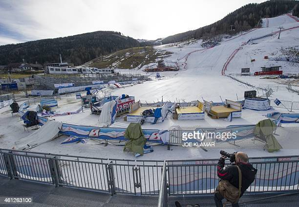 Strong winds have damaged the finish area of the cancelled women's World Cup downhill event of the FIS Ski World Cup in Bad Kleinkirchheim Austria on...