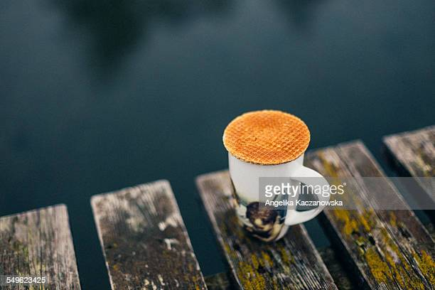 Stroopwafel on the cup with coffee