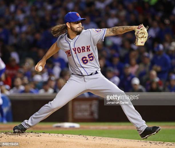 Strting pitcher Robert Gsellman of the New York Mets delivers the ball against the Chicago Cubs at Wrigley Field on September 12 2017 in Chicago...