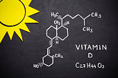 Structural chemical formula of vitamin D on blackboard