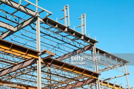 structural steel frame construction site stock photo