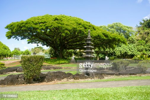 Structure at the roadside, Liliuokalani Park and Gardens, Hilo, Big Island, Hawaii Islands, USA : Foto de stock