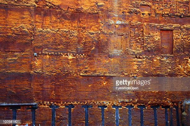 Structure of a wall in a construction area in the center of Madrid on May 21 2010 in Madrid Spain Madrid is a big European city with more than 3...