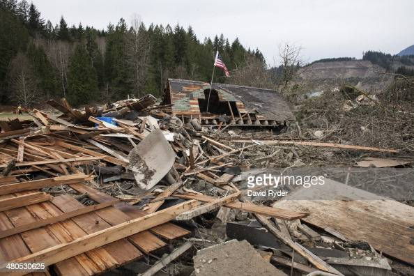 A structure sits in ruins in the aftermath of a mudslide and related flooding on March 25 2014 in Oso Washington A massive mudslide on March 22 has...