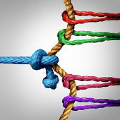 Struggle to success tug of war against a large group of competitors as a team of ropes working and pulling together to win over a single rival or one winning against many.