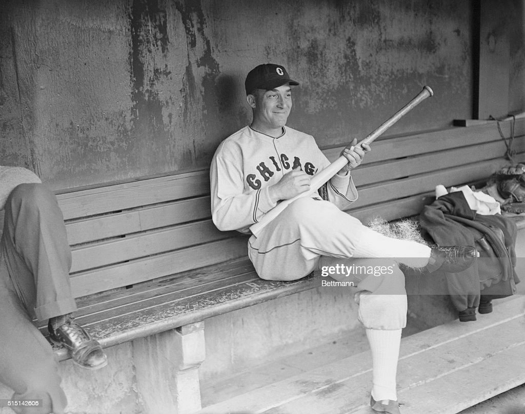 Strumming Out a Few Base Hits Al Simmons outfielder of the Chicago White Sox acquired this season from the Philadelphia Athletics amuses himself in...