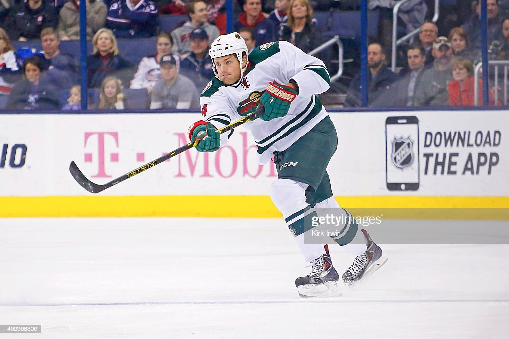 <a gi-track='captionPersonalityLinkClicked' href=/galleries/search?phrase=Stu+Bickel&family=editorial&specificpeople=4862669 ng-click='$event.stopPropagation()'>Stu Bickel</a> #4 of the Minnesota Wild controls the puck during the game against the Columbus Blue Jackets on December 31, 2014 at Nationwide Arena in Columbus, Ohio.
