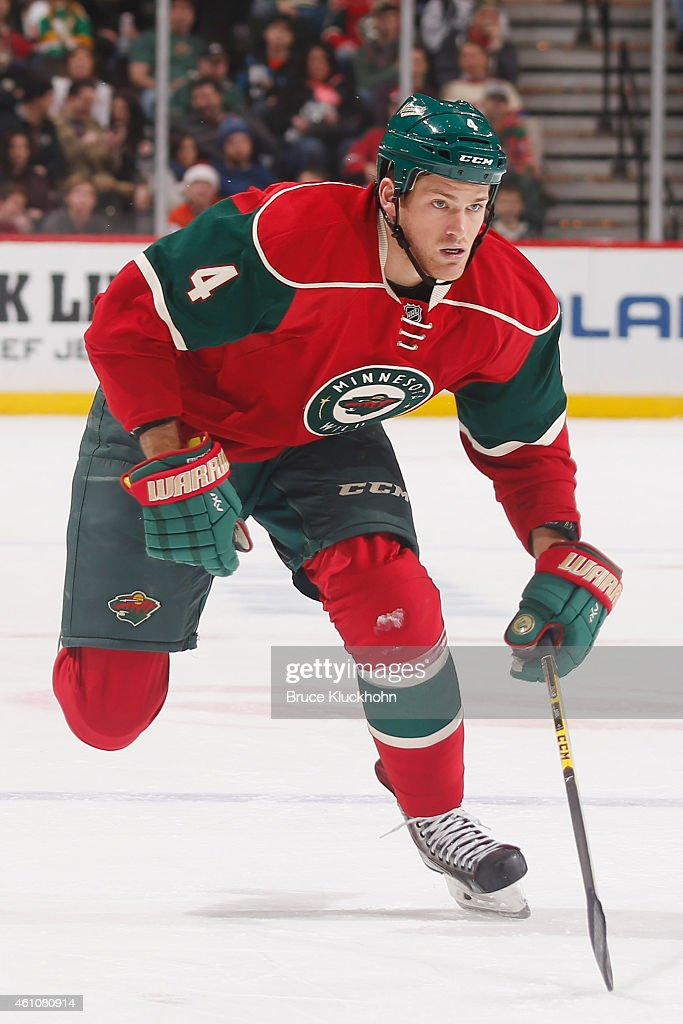 <a gi-track='captionPersonalityLinkClicked' href=/galleries/search?phrase=Stu+Bickel&family=editorial&specificpeople=4862669 ng-click='$event.stopPropagation()'>Stu Bickel</a> #4 of the Minnesota Wild skates against the Philadelphia Flyers during the game on December 23, 2014 at the Xcel Energy Center in St. Paul, Minnesota.