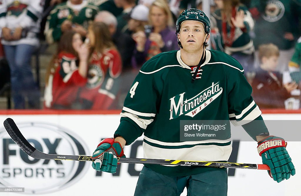 <a gi-track='captionPersonalityLinkClicked' href=/galleries/search?phrase=Stu+Bickel&family=editorial&specificpeople=4862669 ng-click='$event.stopPropagation()'>Stu Bickel</a> #4 of the Minnesota Wild warms up before playing in the game against the Colorado Avalanche at the Xcel Energy Center on October 9, 2014 in Minneapolis, Minnesota.