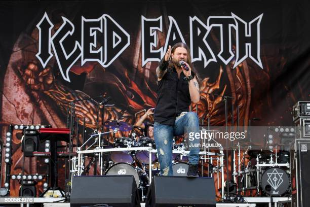 Stu Block of Iced Earth performs on stage at the Download Festival on June 24 2017 in Madrid Spain