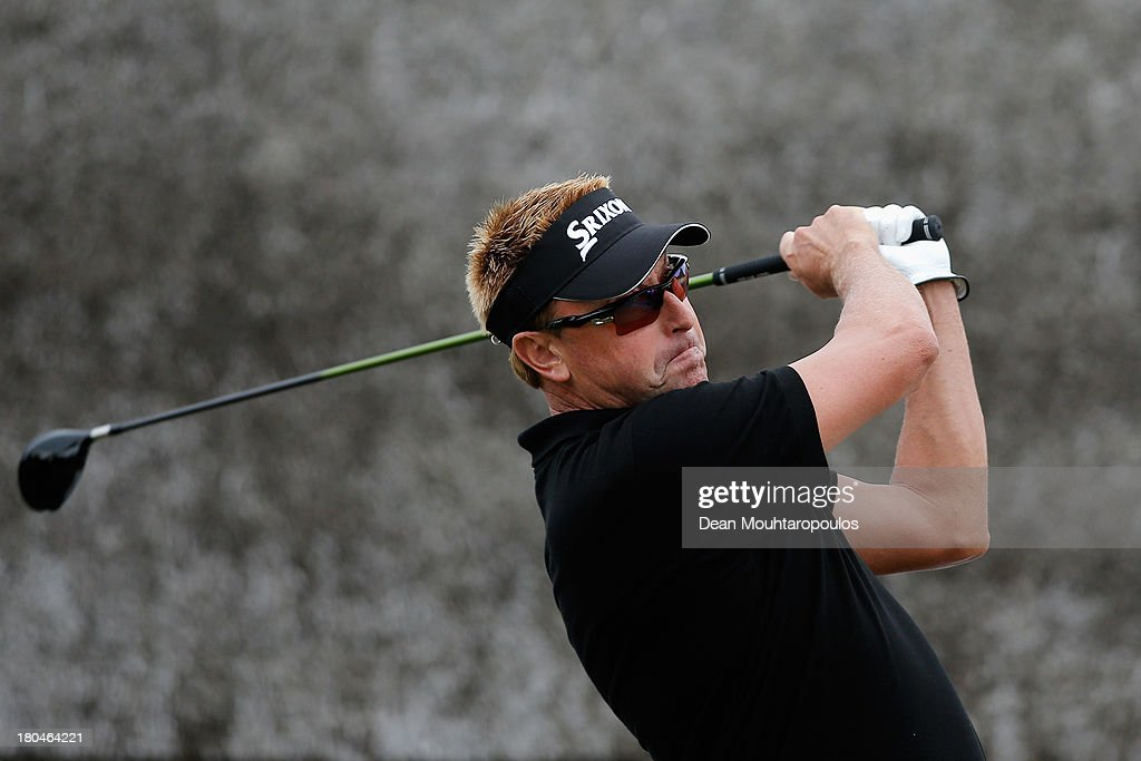 Stuart Allenby of Australia hits his tee shot on the 1st hole during Day 2 of the KLM Open at Kennemer G & CC on September 13, 2013 in Zandvoort, Netherlands.