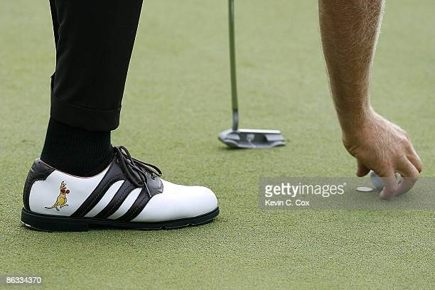 Stuart Appleby lines up his ball for a par putt on the 15th green during the second round of the 2007 Shell Houston Open Friday March 30 on the...