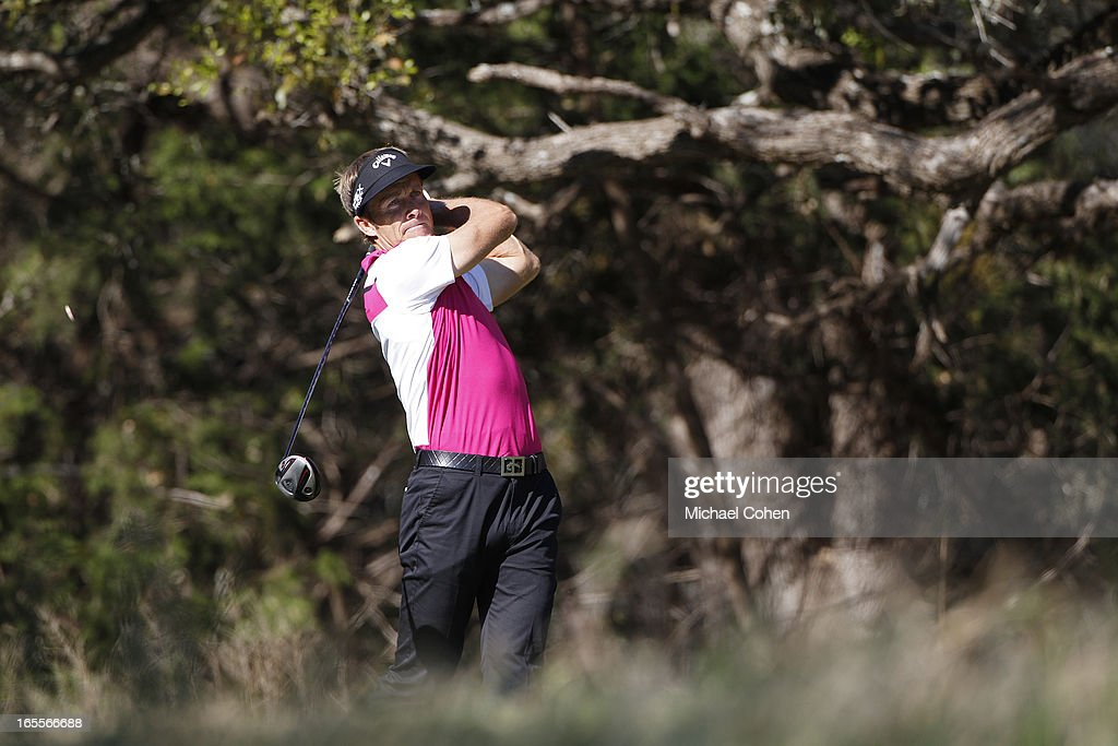 Stuart Appleby of Australia hits a drive during the first round of the Valero Texas Open held at the AT&T Oaks Course at TPC San Antonio on April 4, 2013 in San Antonio, Texas.