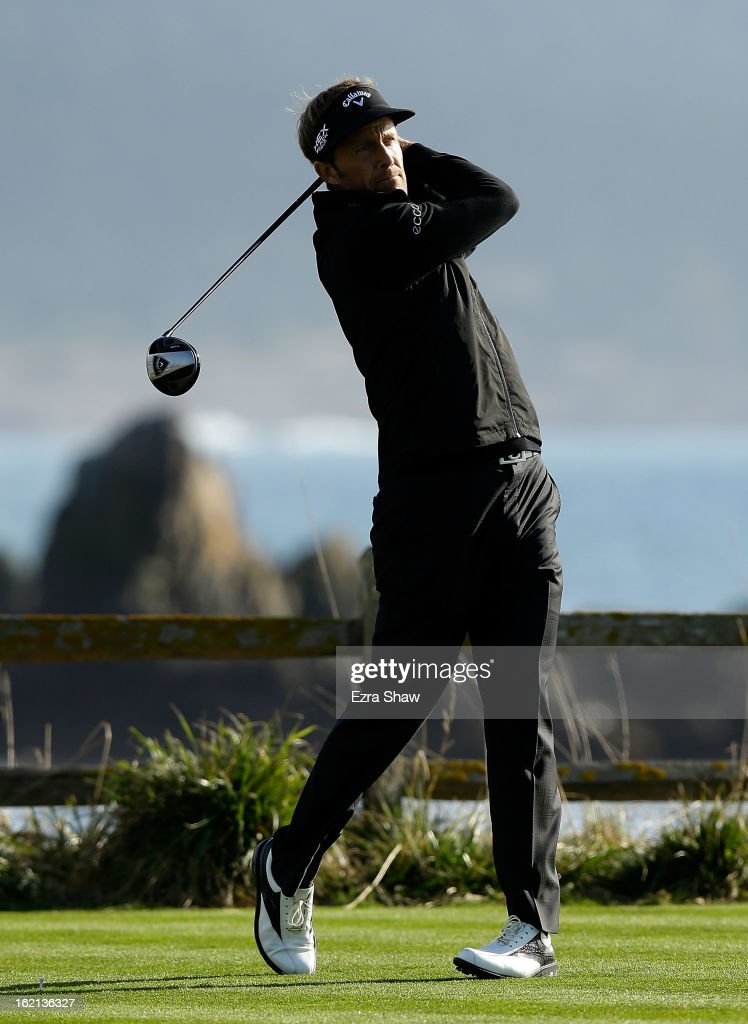 Stuart Appleby of Australia hits a shot during the first round of the AT&T Pebble Beach National Pro-Am at Pebble Beach Golf Links on February 7, 2013 in Pebble Beach, California.